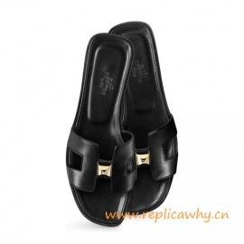 "Original Authentic Quality Sandal in Calfskin with Permabrass 2 ""Clous Pyramides"" Hardware"