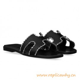 Original Oran Sandals Calf Leather in Satin Covered with Rhinestone Elements