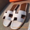 Original Oran H Sandals Calfskin Leather Snow White Slippers