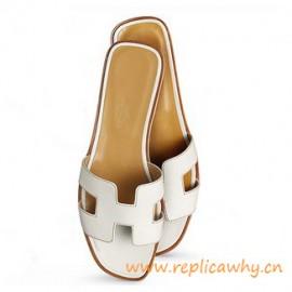 Original Oran H Sandals Calfskin Leather Snow White Slippers