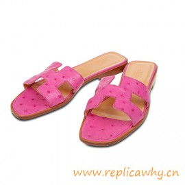 Original Authentic Qaulity Oran H Sandals Ostrich Leather Slippers