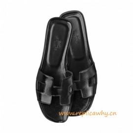 Original Oran H Sandals Calfskin Epsom Leather Slippers