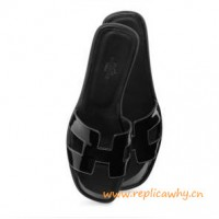 Original Oran H Sandals Calfskin Patent Leather Slippers All Black