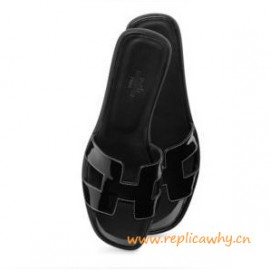 6f4a1ada3d15 Original Oran H Sandals Calfskin Patent Leather Slippers All Black