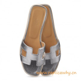 Original Oran H Sandals Calfskin Leather Silver or Gold Color Slippers