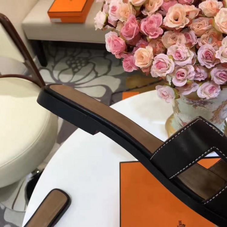 21f1666fbd12b Top Quality Original Design Oran Sandals Leather Slippers Charm Black