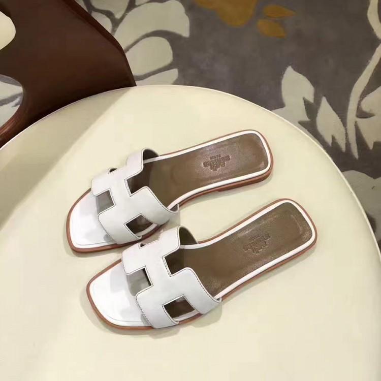 73a59a4c237f Top Quality Original Design Oran Sandals Leather Slippers White
