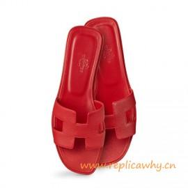 Original Orán rojo Epsom Sandalias Planas para Mujer