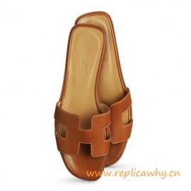Original Oran H Sandals Calfskin Leather Coffee Slippers