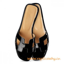Original Oran H Sandals Calfskin Patent Leather Slippers