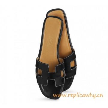 Original Oran H Sandals Calfskin Leather Black Slippers