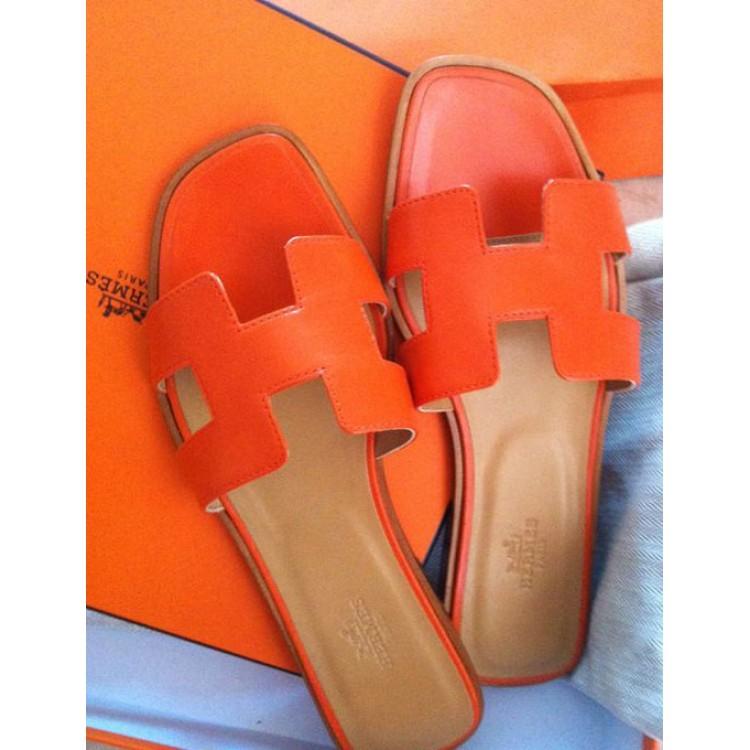 d20284a3afb2 Original Oran H Sandals Calfskin Leather Orange Slippers