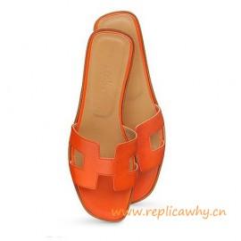 Original Oran H Sandals Calfskin Leather Orange Slippers