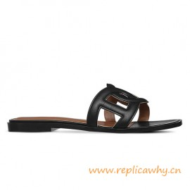 Original Omaha Ladies' Sandal in Calfskin Leather Charm Black Slippers