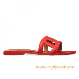 Original Omaha Ladies' Sandal in Calfskin Leather Red Slippers