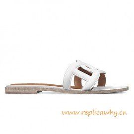 Original Omaha Ladies' Sandal in Calfskin Leather Snow White Slippers