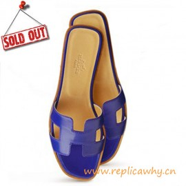 Original Oran H Sandals Calfskin Leather Purple Slippers