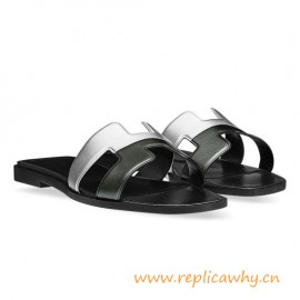 Original Authentic Oran H Sandals in Laminated Nappa Calfskin Leather Slippers