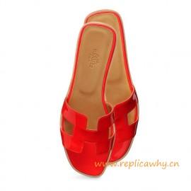 Original Oran H Sandals Calfskin Patent Leather Sao Red Slippers