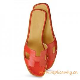Original Oran H Sandals Calfskin Leather Sao Red Slippers