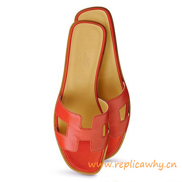 Original Oran H Sandals Calfskin Leather Sao Red Slippers