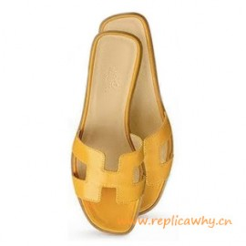 Original Oran H Sandals Calfskin Leather Yellow Slippers
