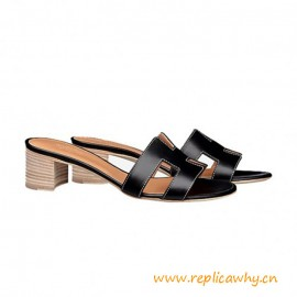 """Quality Oasis Sandals in Calfskin Leather Sole 1.9"""" Stacked Heel"""