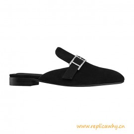 Top Quality Beauty Mule in Suede Goatskin with Rhinestone Details