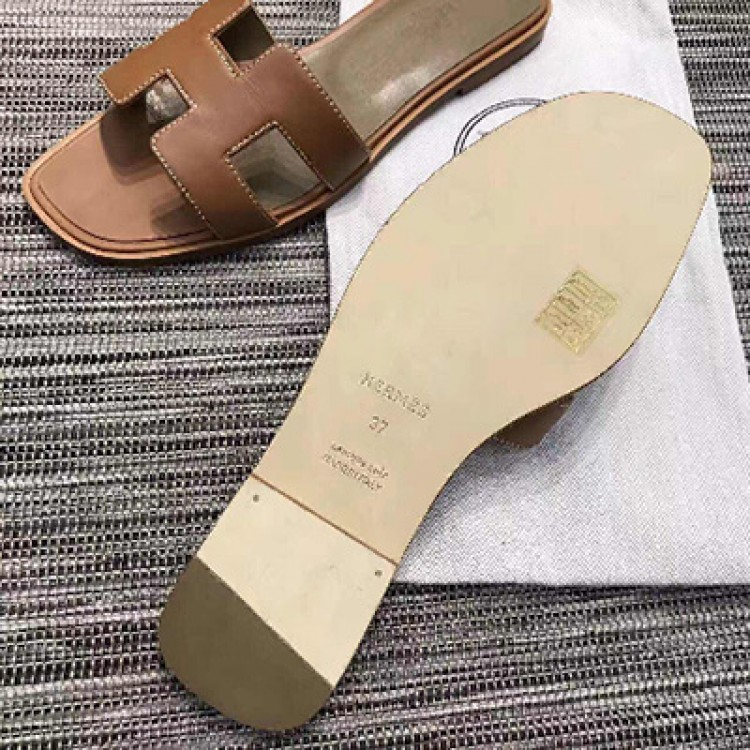 bf9b1a5a4c85 Top Quality Original Design Oran Sandals Leather Slippers Brown