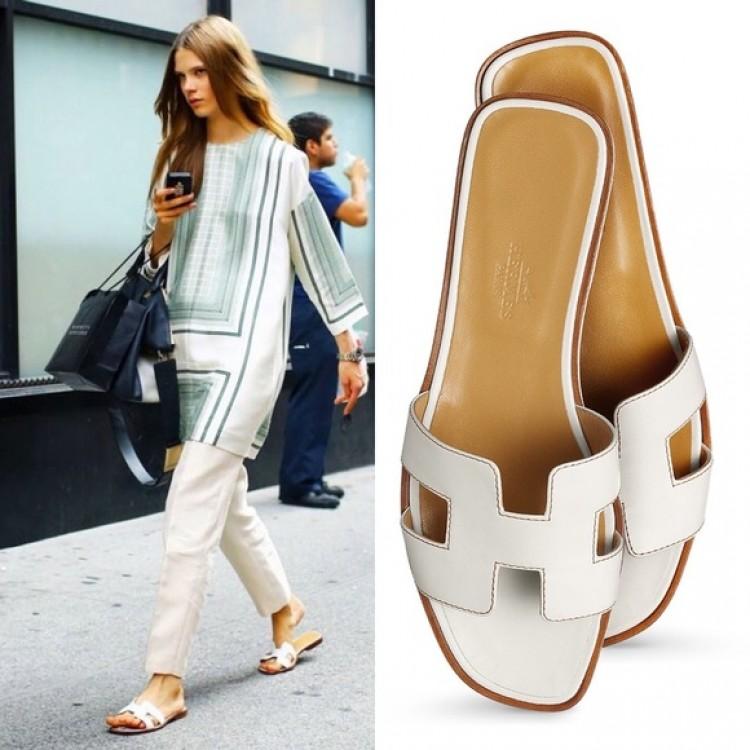 Original Slippers Oran White Sandals Leather Design Top Quality mON8n0wyv