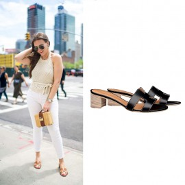 """Top Quality Oasis Sandals in Calfskin Leather Sole 1.9"""" Stacked Heel"""