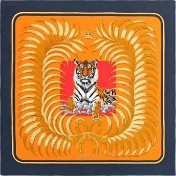 Original Design H Tigre Royal Silk Scarf
