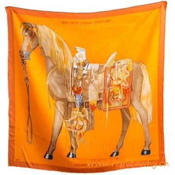 Original Design H Carre Mon Petit Cheval Mexicain Silk Scarf