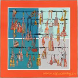 Original Design Passementerie Quadri Silk Twill Scarf