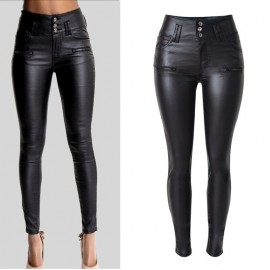 Women's High Waist Slim Leather Pants PU Hot Sell