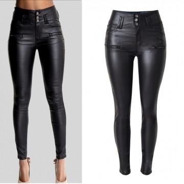 Women's High Waist Slim Leather Pants PU Hot Sell