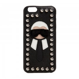 Black Karlito Studded Saffiano Leather Iphone Case for Women