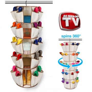 Smart Carousel Organizer 5-Tier Beige 360 Degree Swivel Hook
