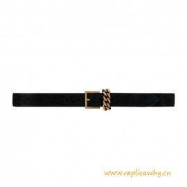 Top Quality Chain-loop Narrow Belt with Square Buckle in Suede